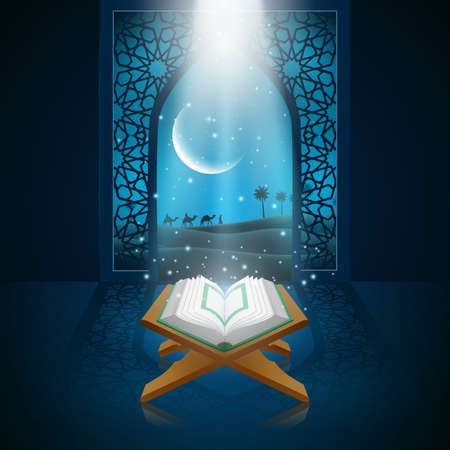 Background ramadan kareem with al quran. Stock Photo