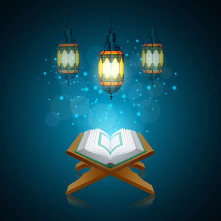 Ramadan Kareem beautiful greeting card with traditional Arabic lantern on blurred blue background. Illustration