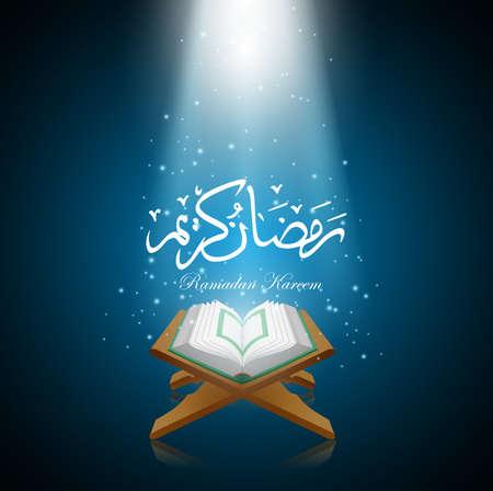 Background ramadan kareem with al quran. Illustration