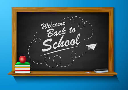 Back to school sign board, vector illustration. Ilustração