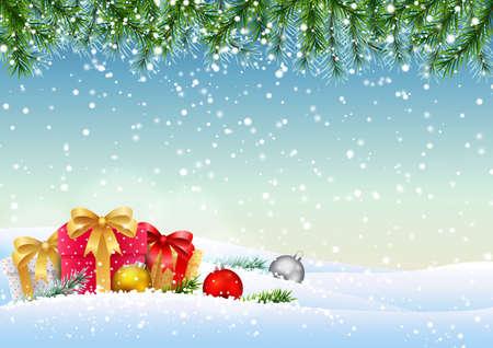 Fundo de Natal com galhos de pinheiro e bolas.