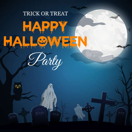 Halloween party with grave backgrounds in the dark forest, vector illustration Иллюстрация