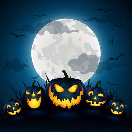 Halloween Pumpkin with a blue moon,vector illustration Stock Illustratie