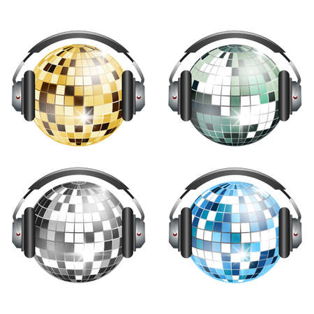 Set of 4 disco balls with headphones