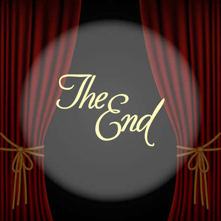 illustration of the end with a red curtain.vector illustration