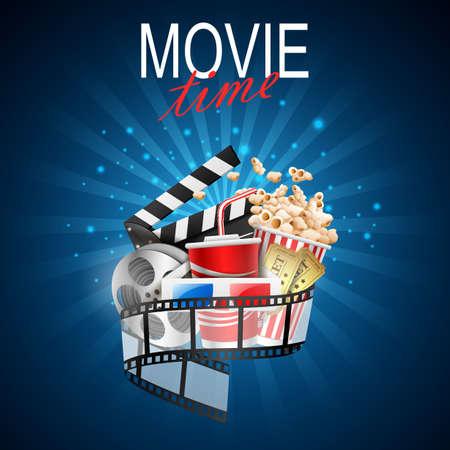 movie design above background blue. illustration Banque d'images - 114009273