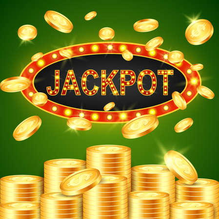illustration of jackpot winner and green background.