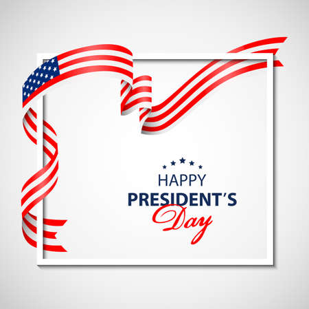 Happy Presidents Day background with white frame and flag USA. Vector illustration Illustration