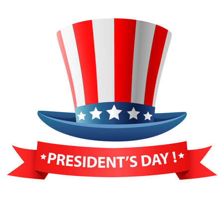 Happy Presidents day poster design with hat. illustration Stock Photo