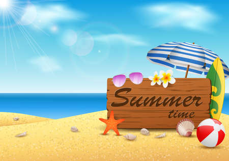Summer time with vintage wood background. vector illustration