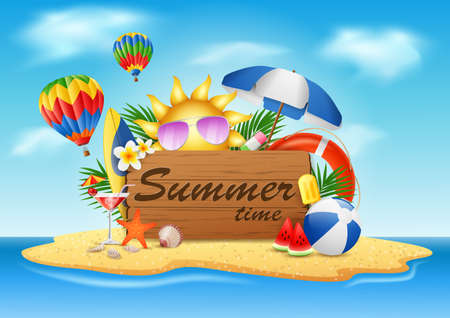 Summer vacation, typographic illustrations on beach island with vintage wooden background. vector illustration