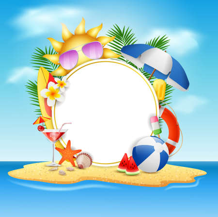 Summer vector banner design concept in beach island with beauty blue sky background. Vector illustration
