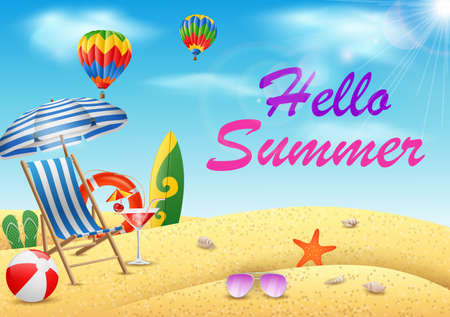 Hello summer with beauty blue sky background. illustration