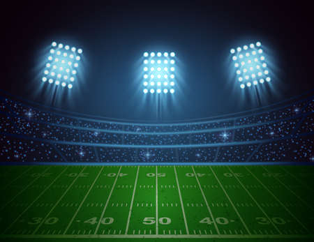 American football arena with bright stadium lights design. illustration