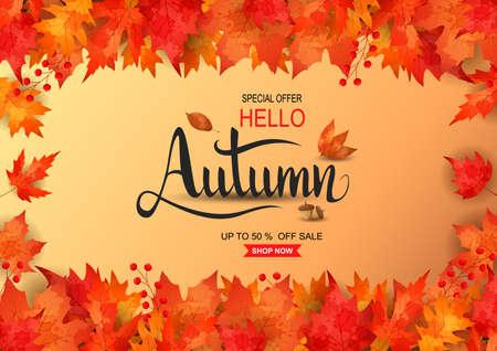 Autumn sale background. vector illustration