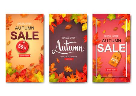 Set of three autumn banners. Vector illustration Ilustración de vector