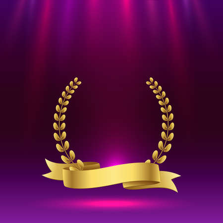 Golden award sign with purple background. Vector illustration