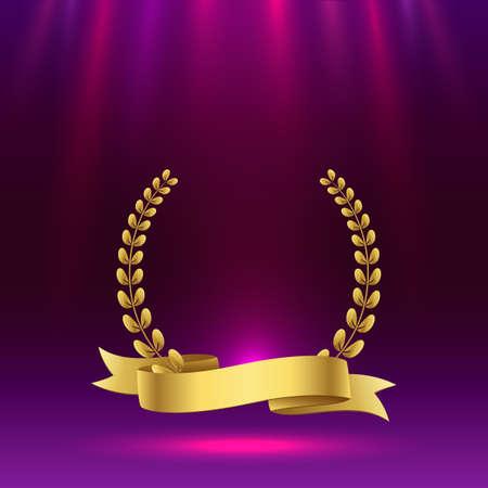 Golden award sign with purple background. Vector illustration Ilustração Vetorial