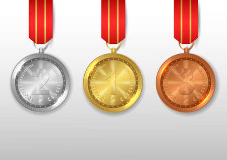 Set of medals gold, silver and bronze, Award with red ribbon. Illustration Banque d'images - 132093044