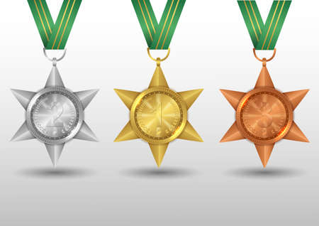 Set of medals gold, silver and bronze, Award with green ribbon. Illustration Banque d'images - 132094071