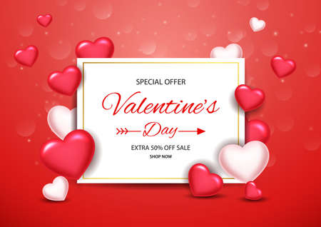Valentines day sale background with balloons heart. Vector illustration