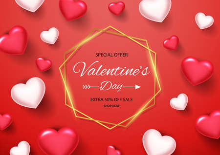 Valentines day sale background with golden border. Vector illustration