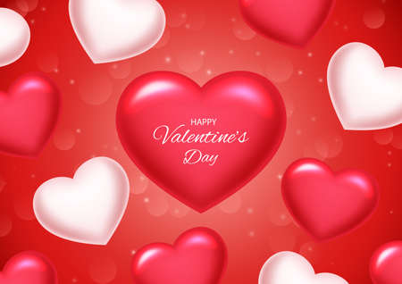 Valentines day background with balloons heart. Vector illustration Ilustração
