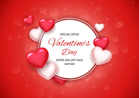 Valentines day concept background with paper board white. Vector illustration