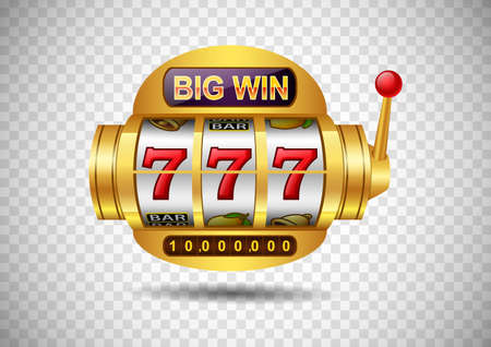 Big win slots machine 777 casino on isolated transparent background. Vector illustration