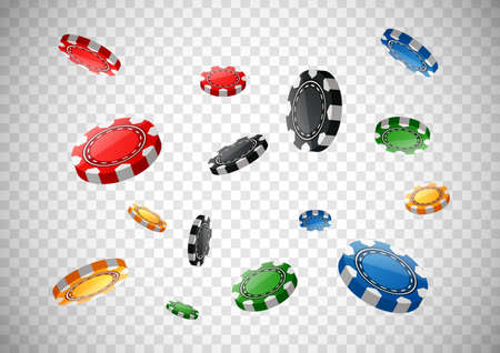 Casino poker chips flying on isolated transparent background. Vector illustration Ilustração