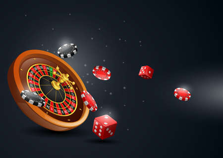 Casino roulette wheel with chips poker and red dice. Vector illustration
