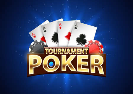 Poker tournament banner background with chips and playing cards. Vector illustration