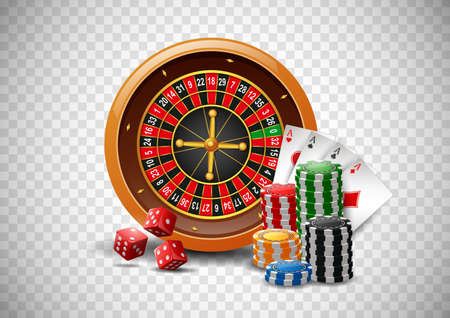 Casino roulette wheel with chips poker, playing cards and red dice on isolated transparent background. illustration