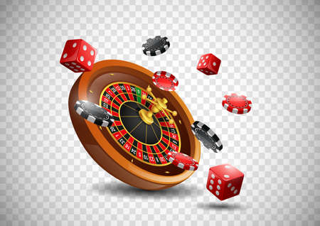 Casino roulette wheel with chips poker and red dice on isolated transparent background. illustration