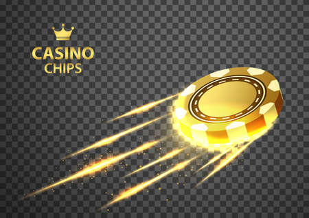 Gold casino poker chips flying on isolated transparent black background. illustration