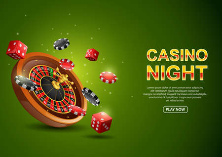 Casino roulette wheel with chips poker and red dice on sparkling green background. illustration