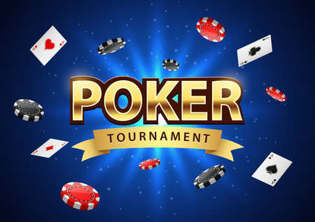Poker tournament banner background with chips and playing cards. illustration