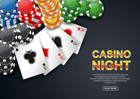 Casino Night. with chip poker and playing card on black background. Flyer, poster or banner design. illustration