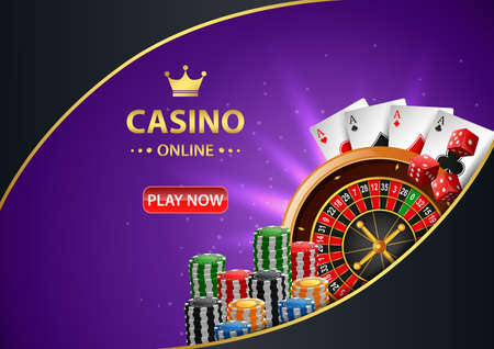Casino online background with roulette wheel, chips poker and playing cards. illustration Standard-Bild