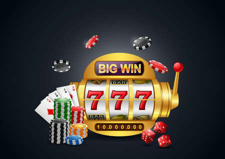 Big win slots machine 777 casino with chip poker, dice and playing cards. illustration Standard-Bild