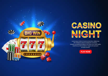 Casino Night. with Casino 777 slot machine, chip poker and playing card on sparkling blue background. Flyer, poster or banner design. illustration Standard-Bild