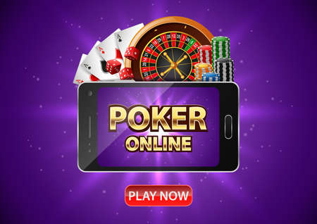 Online Poker casino background design with a mobile phone. Poker banner with chips, roulette wheel and playing cards. illustration