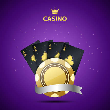 Casino background with gold chip, playing card and silver ribbon. illustration