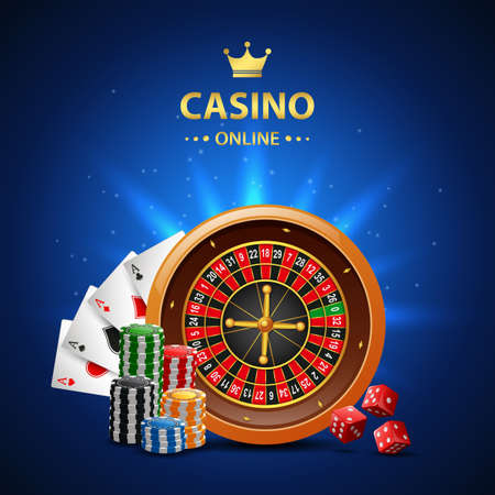 Casino online background with roulette wheel, chips poker and playing cards. illustration Imagens