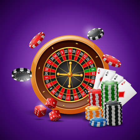 Casino roulette wheel with chips poker, playing cards and red dice on sparkling purple background. illustration