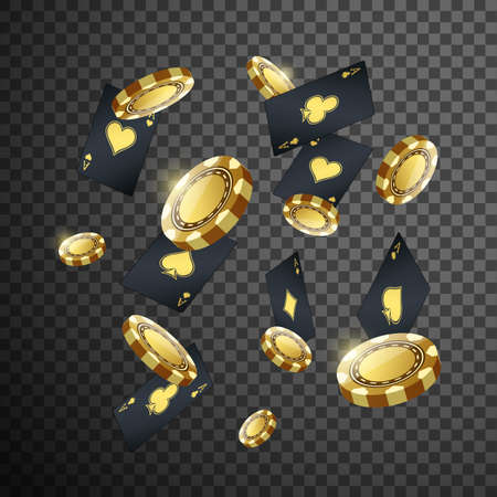 Gold casino poker chips and playing card flying on isolated transparent black background. illustration