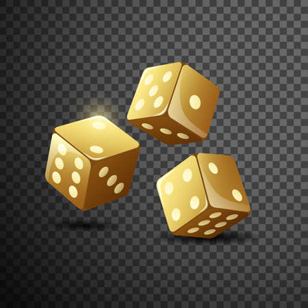 Gold dice on isolated transparent black background. illustration Imagens