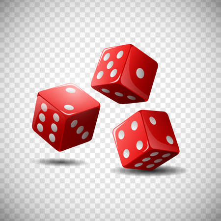 Red dice on isolated transparent background. illustration