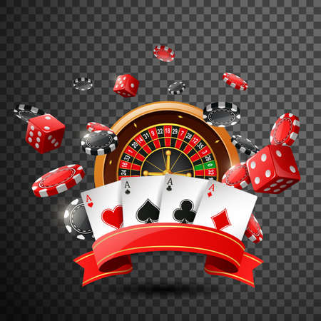 Casino background with red ribbon on isolated transparent background. illustration
