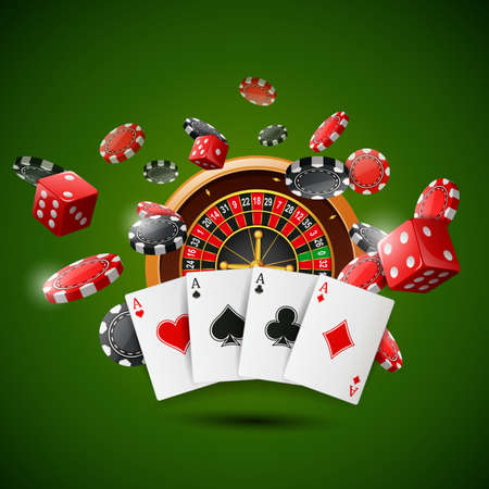 Casino roulette wheel with chips poker, playing cards and red dice on sparkling green background. illustration